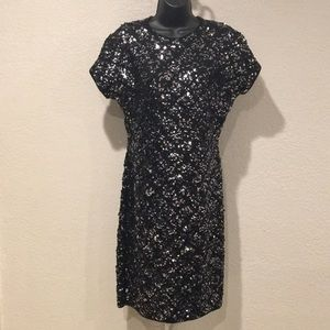 Vintage Cathy Hardwick Sequins Embellished Dress M
